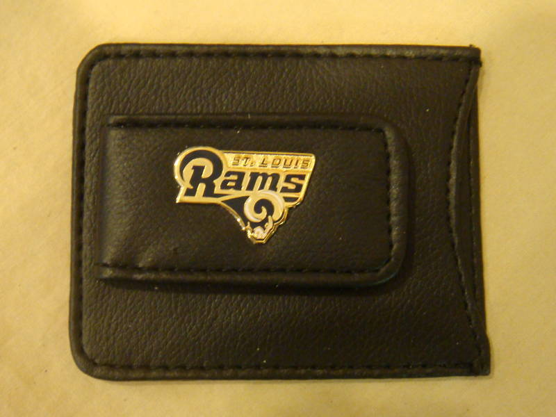 ST LOUIS RAMS MONEY CLIP CARD HOLDER BLACK LEATHER NEW