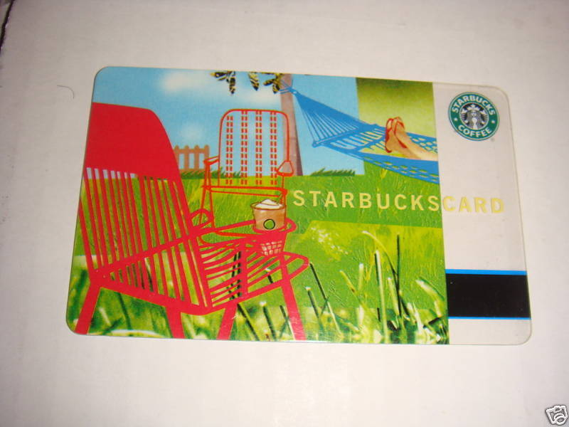 STARBUCKS CARD 2004 SUMMER GIFT CARD LAWN CHAIR OUTSIDE