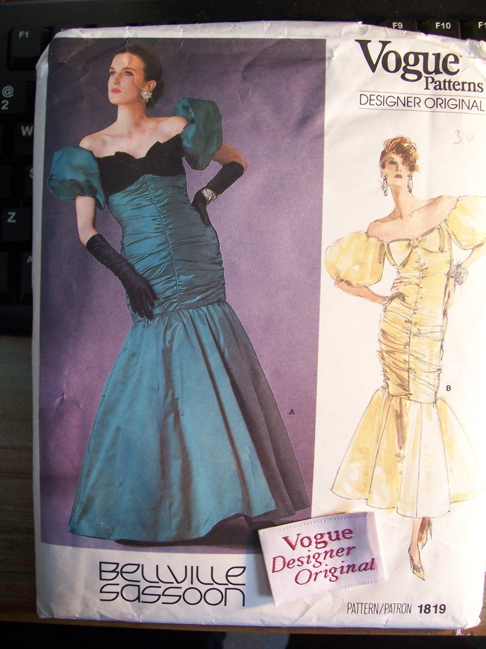 Vogue 1819 Designer Bellville Sasson Evening Dress 1986 Label ~ 8/31.5