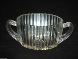 Queen Mary Clear Open Sugar Bowl by Anchor Hocking Ribbed Depression Sta... - $14.84