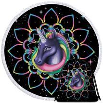 Mandala Unicorn in Space Beach Towel - $12.32+