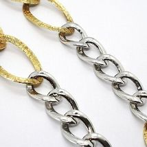 Necklace Silver 925, Chain Grumetta Oval, White and Yellow Alternating, Curb image 4