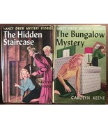 2 Nancy Drew Blue Endpapers Staircase Bungalow - $3.00