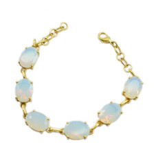Yellow Gold Plated Glass appealing Fire Opal CZ usual Bracelet AU gift - $22.73