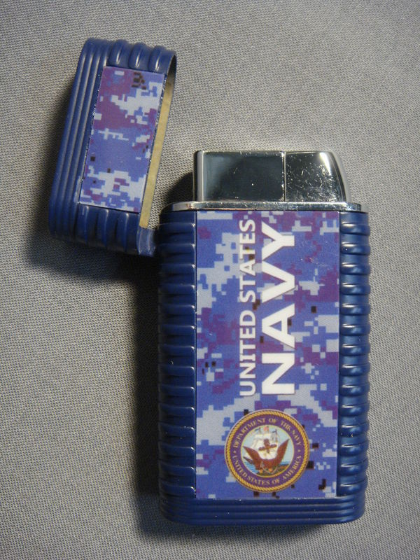 UNITED STATES NAVY BLUE DIGITAL CAMO MILITARY THEME TORCH LIGHTER NEW