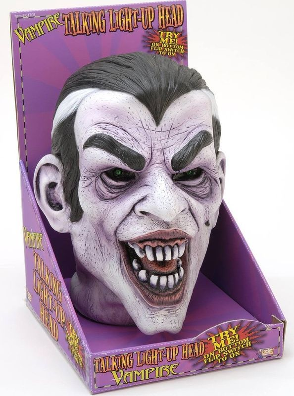 VAMPIRE TALKING LIGHT UP HEAD HALLOWEEN DECORATION