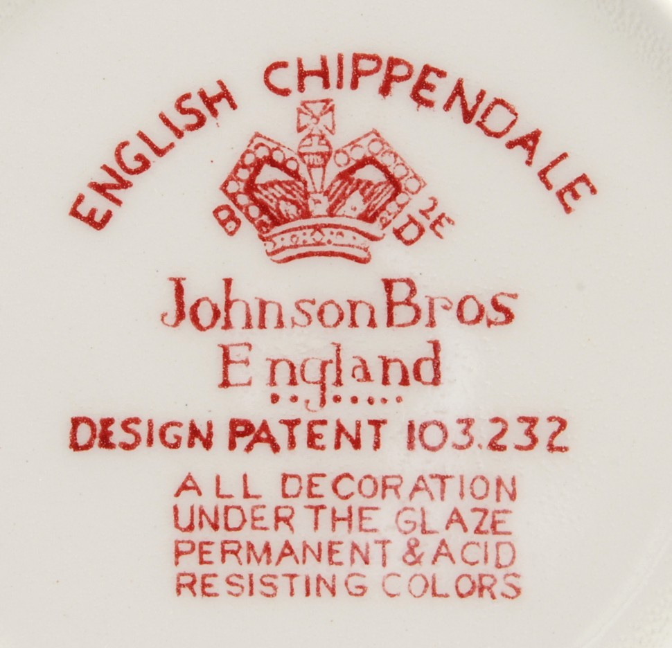 Johnson Bros English Chippendale Red Large 7-in Saucer