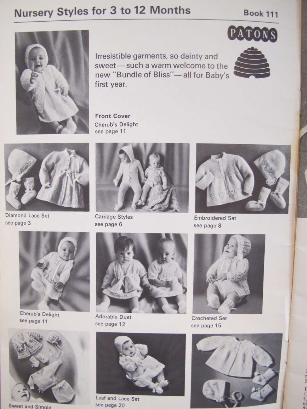 Vintage Patons Knitting Crochet Patterns BABY Outfits Sweaters Dresses BABIES