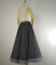 Black Ruffle Midi Tulle Skirt High Waisted Layered Ballerina Skirt Outfit T1878 image 9