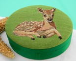 Vintage Embroidered Silk Deer Fawn Green Trinket Box Republic of China