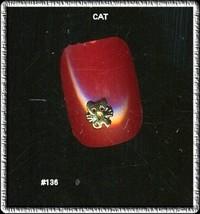 24K gp Nail CHARM Top Nail Art Gold     CAT FACE - $4.68