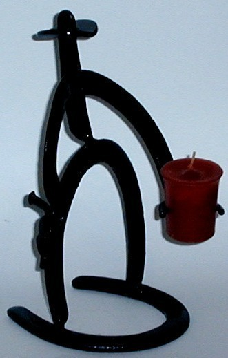 Primary image for Real Horseshoe Candle Holder Cowboy with Gun Holster and Candle