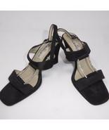 """7 M CLAUDIA CIUTI ITALIAN JEWELED Block 3.5"""" High Heels Sandals Black Shoes - $37.09"""