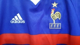 Vintage 1998 FFF Adidas France Home World Cup Soccer Football Jersey/Shi... - $59.23