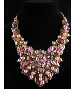 Fabulous Pink statement necklace  - hand beaded bib - pearls and rhinest... - $265.00