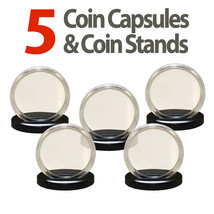 5 Coin Capsules & 5 Stands for SILVER EAGLES Direct Fit Airtight 40.6mm ... - $8.86