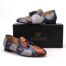 Handmade FERUCCI Men Snake pattern Leather with Black Tassel Slipper loafer - $179.99