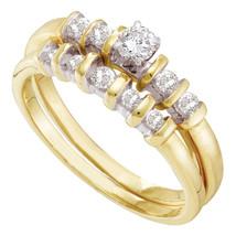 10kt Yellow Gold Round Diamond Bridal Wedding Engagement Ring Band Set 3/8 Ctw - $500.00