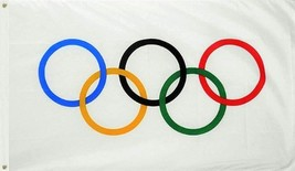 TrendyLuz Flags Olympic Games 3x5 Feet Flag Olympics Rings International... - $12.69