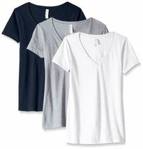 Clementine Apparel Women's Petite Plus 3-CLM1540, White, Heather Gray, M... - $18.27