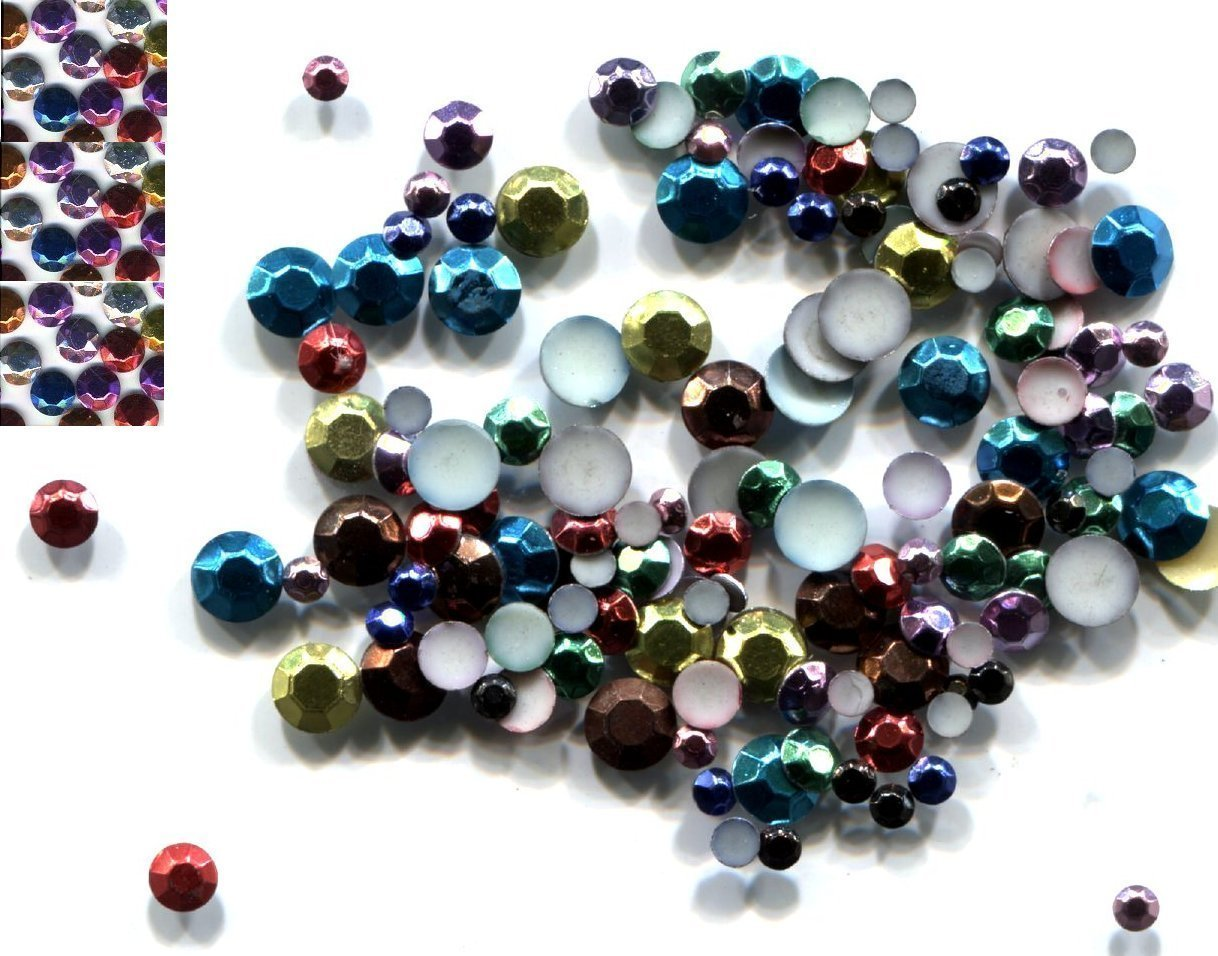 Primary image for 288 Rhinestuds Faceted Metal MIXED COLOR 2mm HotFix 2 gross