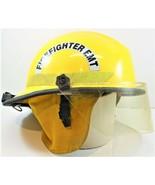 Bullard Fire Fighter Helmet Yellow Lined Neck & Face Shield Firedome FX ... - $89.09
