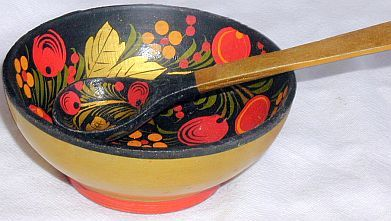 Primary image for Russian wood bowl with  tea spoon Khokhloma