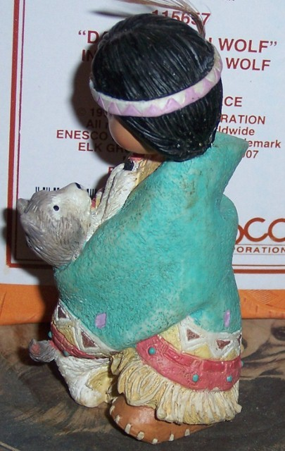 Friends of the Feather Dances with Wolf Indian Figurine NEW