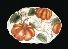 "MAXCERA Pumpkin Thanksgiving Ceramic Scalloped 14.5"" Oval Platter NEW 2 ... - $38.99"