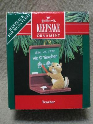 HALLMARK TEACHER KEEPSAKE ORNAMENT CHIPMUNK 1990 MIB