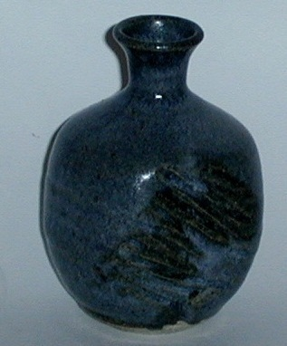 Small Blue Gray Primitive Hand Crafted Pottery Vase
