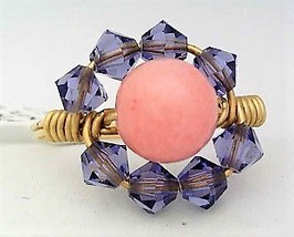 Crystal Pink Coral Gemstone Bead Gold Wire Wrap Ring sz 9.5 - $10.08