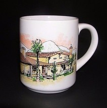 Coffee Mug Southwest Cactus Mountain Ranch House Ceramic Cup Green Brown... - $15.99