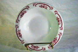 "Homer Laughlin Pink/Red Floral & Scroll Pattern Rimmed Cereal Bowl 6 1/4"" - $2.76"