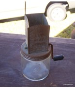 Antique Nut Meat Chopper Glass With Tin Top Lot # 38 - $45.00