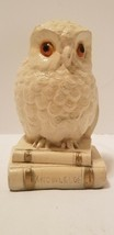 MCM Chalkware Snowy White Barn Hedwig Owl on Books Knowledge is Power Bo... - $13.58