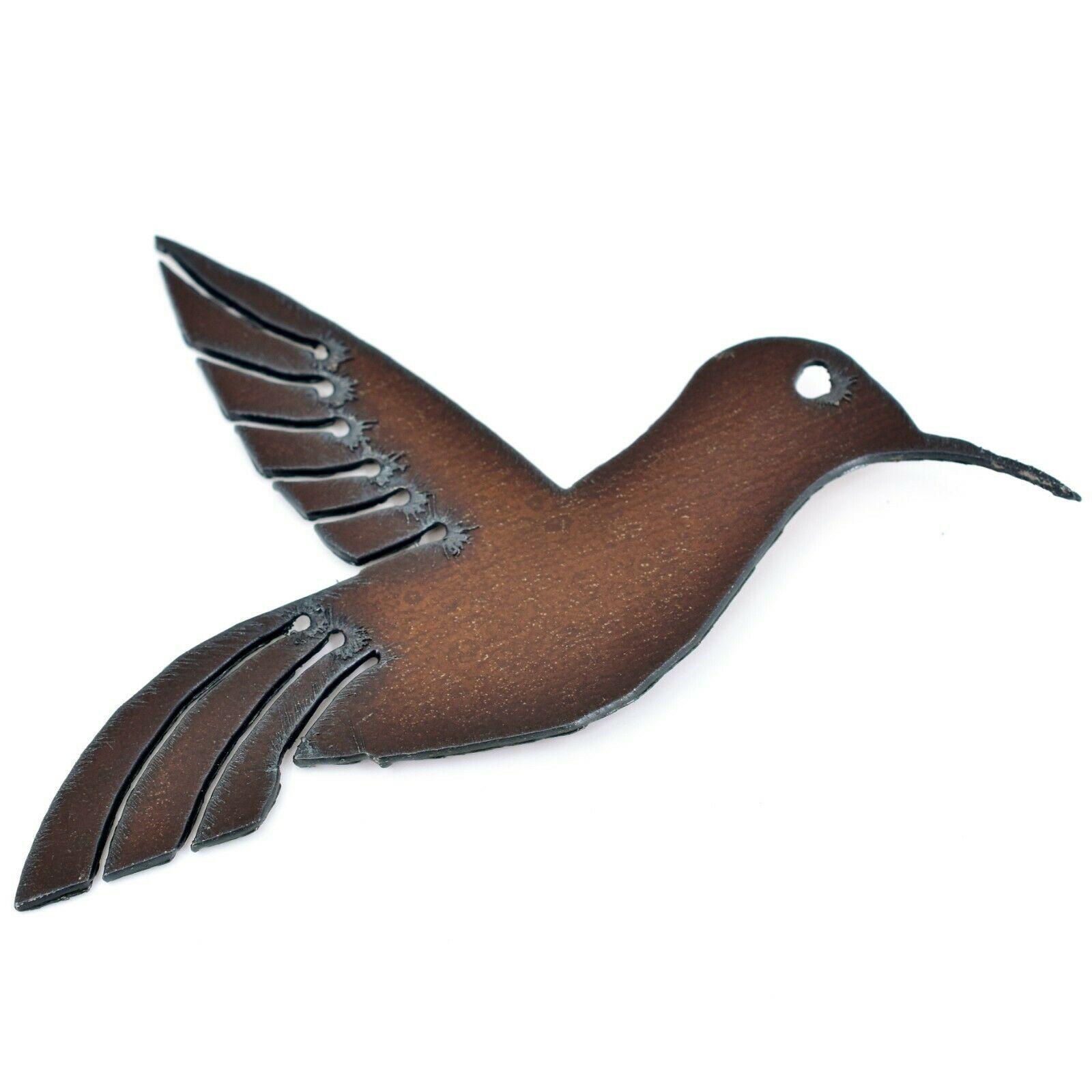 """Rustic Rusted Patina Iron Metal Cutout Hummingbird 5.5"""" Refrigerator Magnet (B)"""