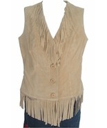 LEW MAGRAM Genuine Leather Suede Fringe Vest MEDIUM NWT - $59.99