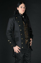 NWT Men's Black Steampunk Officer Coat Victorian Goth Vampire Pirate Jacket - $100.93