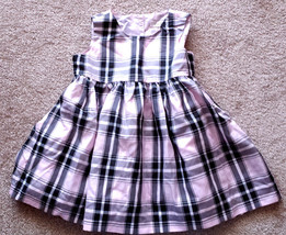 Girl's Size 9-12 M 12 Months 2 Pc Pink/ Black Plaid George Dress, Furry ... - $12.00