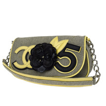 Auth CHANEL CC No.5 Camellia Chain Shoulder Bag Canvas Patent Leather GY... - $899.99