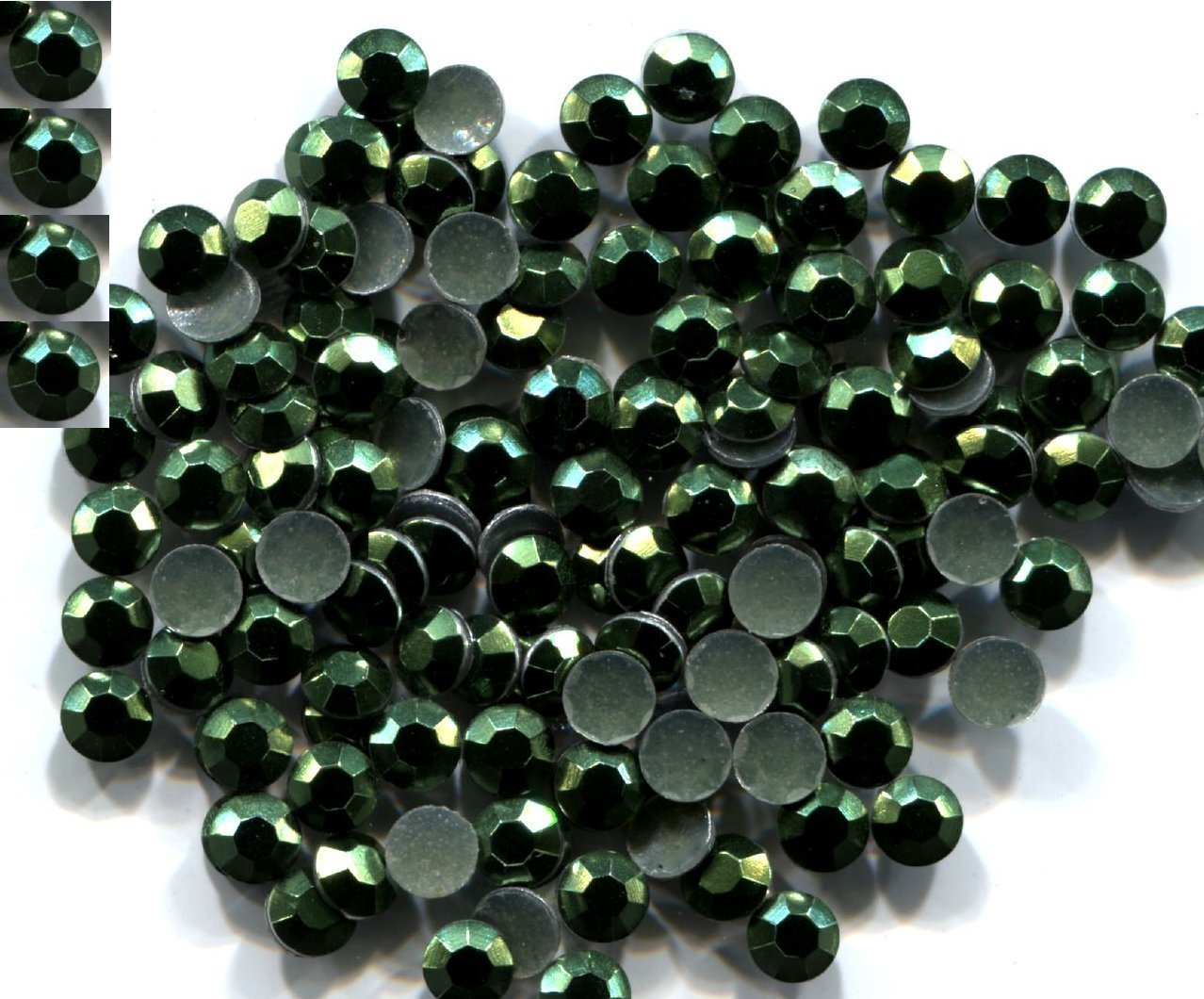Primary image for 720 Rhinestuds Faceted Metal Dk Green 2mm Hot Fix 5 gross