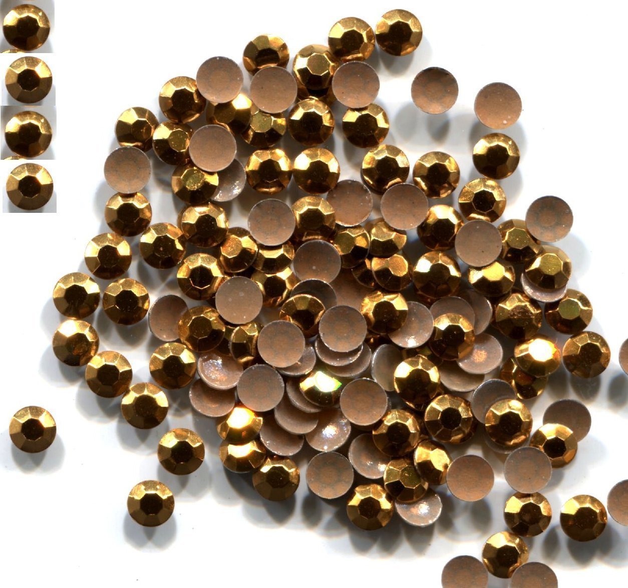 Primary image for 720 Rhinestuds Faceted Metal GOLD color 2mm Hot Fix 5 gross