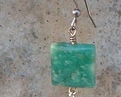 Amazonite Gemstone & Sterling Silver Squares Dangle Earrings