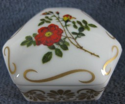Empress Josephines Rose Garden Miniature Porcelain Trinket Box Austrian Copper - $11.95