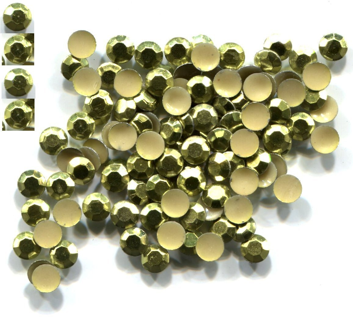 Primary image for 720 Rhinestuds Faceted Metal  PERIDOT 2mm  Hot Fix 5 gross