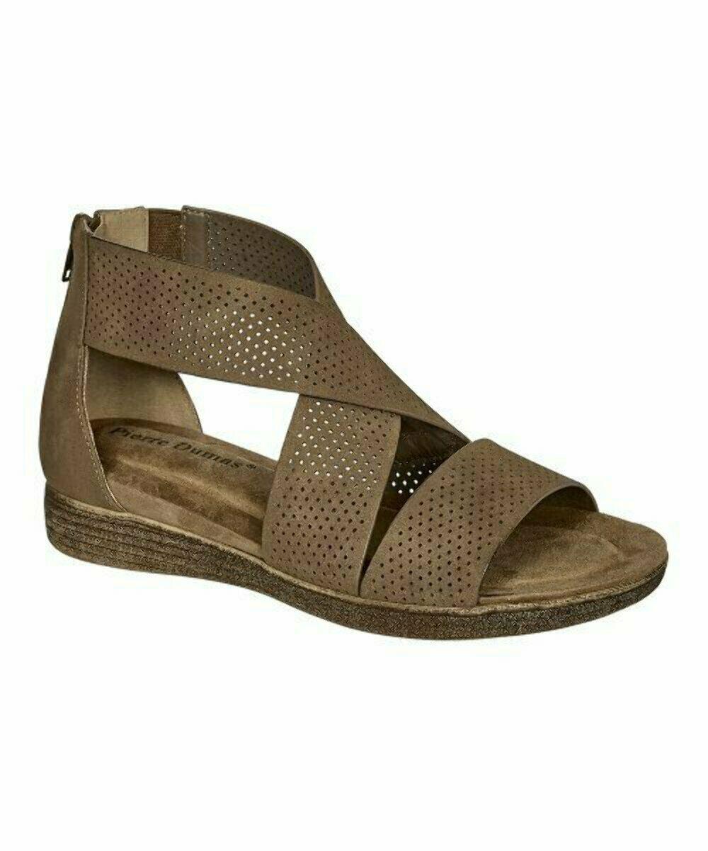 Pierre Dumas, Taupe Crisscross Sandal, Sz 6.5 - $19.80
