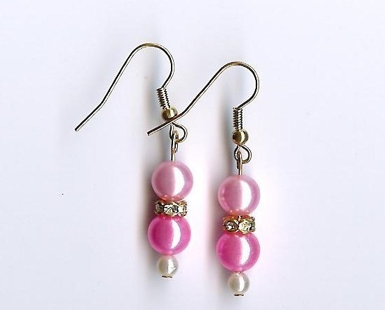 Primary image for Handmade Handcrafted Earrings Rhinestones Pink White Pearl