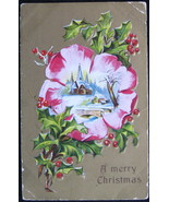 Antique, Early Divided Back Christmas Postcard, A Merry Christmas, Holly... - $6.00