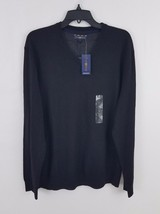 Club Room Men's V-Neck Sweater Deep Black L 29300 Merino Wool Blend - €20,55 EUR
